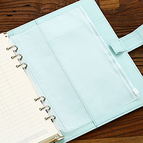 DadaCrafts(TM) 4-Packs Clear Plastic Zipper Pockets for 6-Ring Notebook Binder, A5 Size