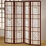 ADF 4-Panel Shoji Screen with Cherry Finish Frame