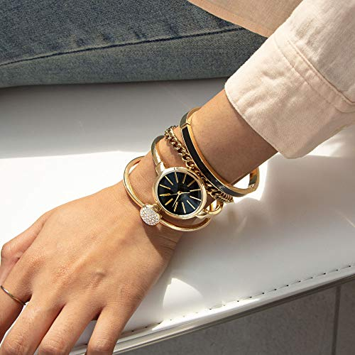 : Anne Klein Women's Bangle Watch and Swarovski Crystal Bracelet Set, AK/1470