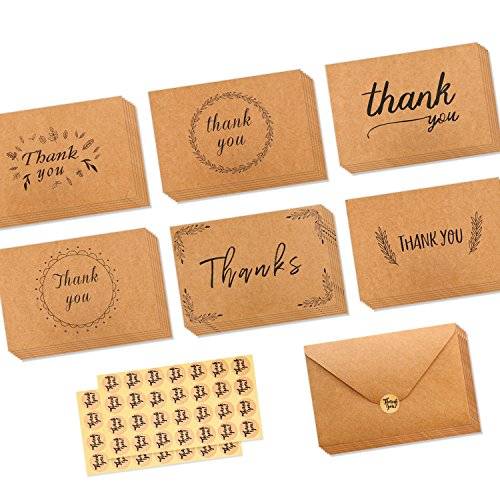 Graduation Thank You Cards (Ohuhu 36 Pack Brown Kraft Paper Thank You Cards Thank U Greeting Card W/ 36 Kraft Paper Envelopes and 36 Pcs Envelope Thank You Stickers for Wedding, Graduation, Baby Shower, 4 x 6 Inches)