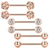 GAGABODY 3Pair 14G 9/16'' Nipple Rings Barbell Vintage Flower 14mm Surgical Steel Body Piercing (Rose Gold)