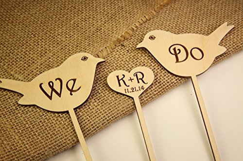 Personalized Cake Topper - Love Birds with Heart - - Love Ray Ban
