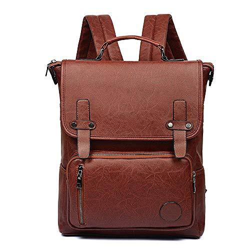 Vegan Leather Backpack Slim Vintage Laptop Backpack for Women Men, Professional Water Resistant Brown College School Bookbag Weekend Travel Daypack Bag