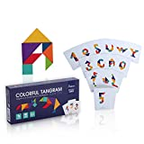Wooden Tangram Puzzle Travel Game Tangrams with 50 Cards 100 Pattern Include Number Alphabet Animal and Shape Educational Colorful Challenge IQ Toy for 3-100 Years Old with Nice Gift Box