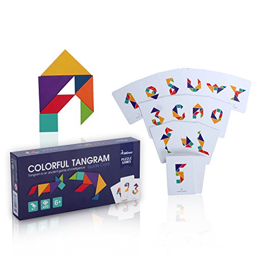 Wooden Tangram Puzzle Travel Game Tangrams with 50 Cards 100 Pattern Include Number Alphabet Animal and Shape Educational Colorful Challenge IQ Toy For 3-100 Years Old With Nice Gift Box by USATDD