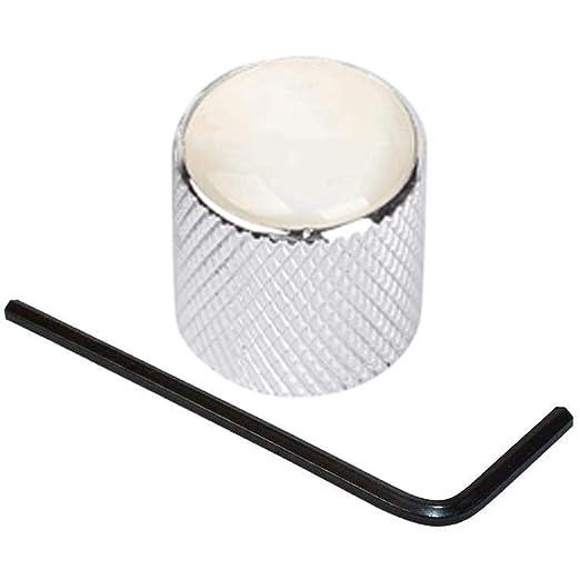 Guitarra eléctrica Bass Dome Potenciómetro perillas Cap Embeded Tono de volumen Control de velocidad Perilla de metal con llave by Biback: Amazon.es: ...