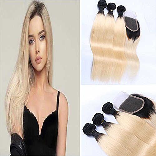 Wicca Ombre Blonde Hair Extensions 1B/613 Brazilian Honey Blonde Human Hair Bundles with Closure 3 Bundles with Lace Closure Silk Straight Dark Roots Hair Weaving(22 24 26 with 20 inches)