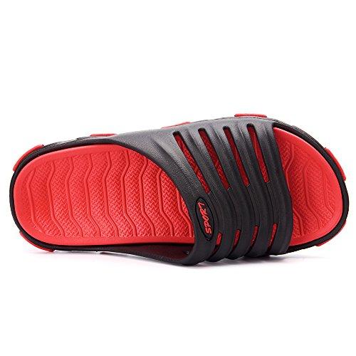 VILOCY Mens Boys Lightweight Slip On Flip Flops Swimming Pool Beach Shower Sliders Casual Summer Sandals Shoes Sport Black kzEIfEtD