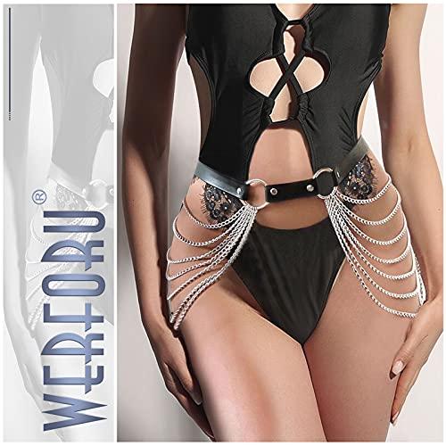 Women Waist Belt with Chain Punk Gothic Faux Leather Waist Belt Fashion Sexy Adjustable Belt for Halloween Black 100 cm