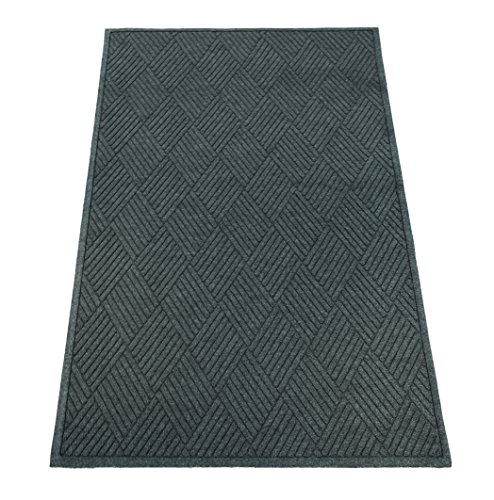 (Guardian EcoGuard Diamond Indoor Wiper Floor Mat, Recycled Plactic and Rubber, 4'x8', Charcoal Black)