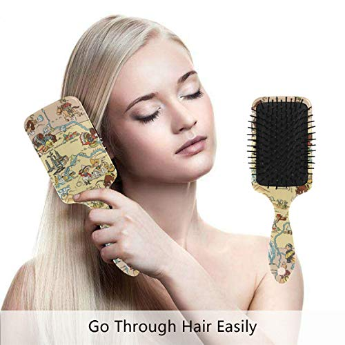 Vintage 1935 Montana State Map Hair Brush,Scalp Massage Hair Comb with Air Cushion