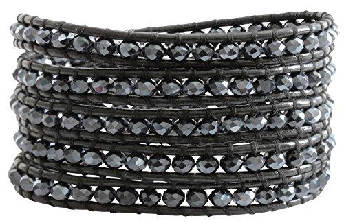 Chan Luu Crystal Midnight Black Leather Wrap Bracelet bs-3469 by Chan Luu