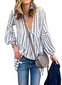 FARYSAYS Women's Boho Floral Print Long Sleeve V Neck Shirts Hollow Out Casual Loose Blouses Tops