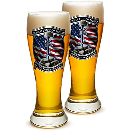 Pilsner US Marine Corps Gifts For Men Or Women High Price Of Freedom Beer Glassware USMC Barware Glass Set Of 24 23 Oz