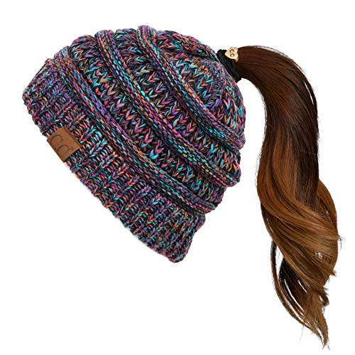 C.C Soft Stretch Cable Knit Messy Bun Ponytail Beanie Winter Hat (MB-816A) (Black Multi(32))