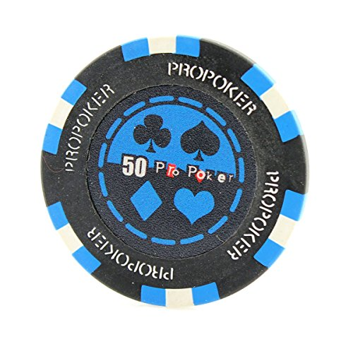 Versa Games 25 Piece Pro Poker Clay Poker Chips - 9 Colors (Blue) - Clay Poker Poker Pro