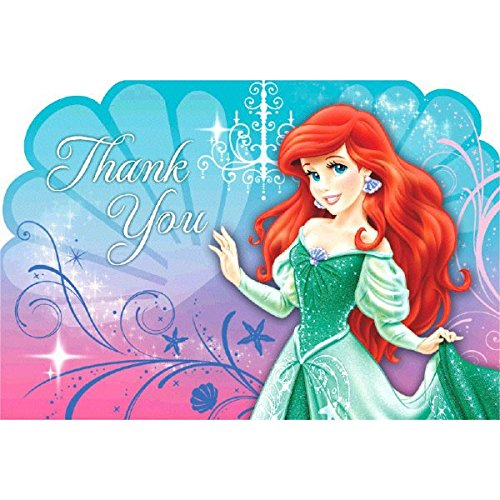 Amscan Disney's Ariel Thank You Cards, Blue/Purple/Pink, 6 1/4