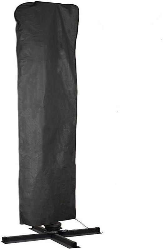 LINGKY Funda Sombrilla Jardín Impermeable, Resistente al Viento, Resistente al Polvo, Anti-UV 210D Oxford Funda Protectora para Parasol (190x50x30cm) - Negro (262x89cm): Amazon.es: Jardín