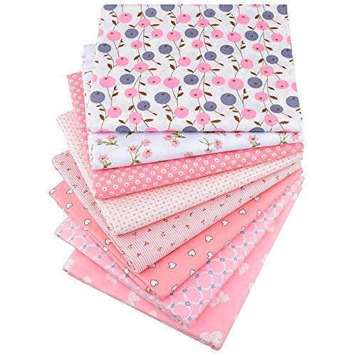 8 Pcs 15.7x19.7 Inch Pink Floral Series Fabric Patchwork Craft Cotton Material-Cotton Fabric Cartoon Prints-Printed Twill Cotton Fabric- Patchwork Clothes for Women- DIY Sewing Quilting Fat Quarters M