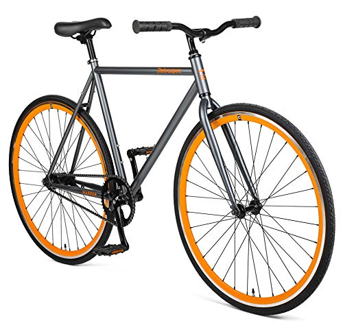 Retrospec Harper Single-Speed Fixie Style  Urban Commuter Bike with Coaster Brake, Graphite & Orange 61cm, XL