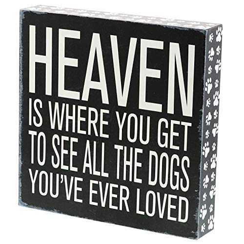 Barnyard Designs Heaven is Where You Get to See All The Dogs You've Ever Loved Box Sign Vintage Primitive Pet Home Decor Sign 8