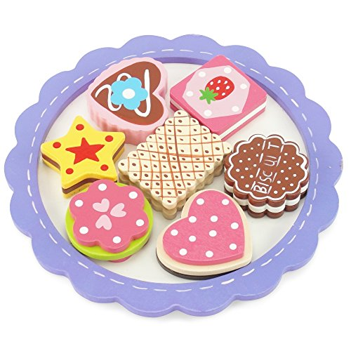 18-inch Doll Food Accessories | 8-piece Cookie Tray with Assorted Hand-painted Wooden Cookies | Fits 18