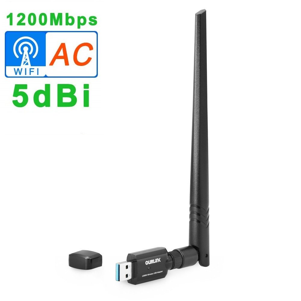 OURLiNK 1200Mbps 802.11ac Dual Band (5.8GHz/867Mbps+2.4GHz/300Mbps) Wireless Network Adapter USB Wi-Fi Dongle Adapter with 5dBi Antenna Support Win Vista,Win 7,Win 8.1, Win 10,Mac OS X