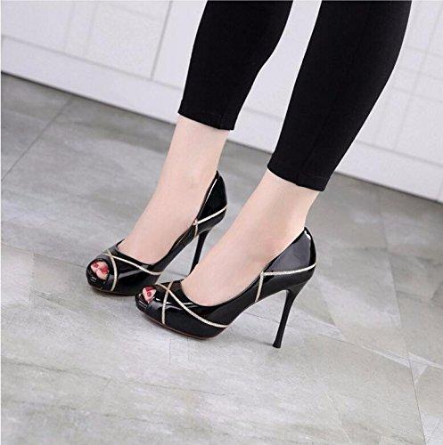 GTVERNH-Sono Pesci Bocca Scarpe Coreano Corrisponde Tutto Professione Le Scarpe Con Una Bella Sexy 9.5Cm Scarpe Col Tacco Alto Scarpe Di Cuoio Piccola 35 Black