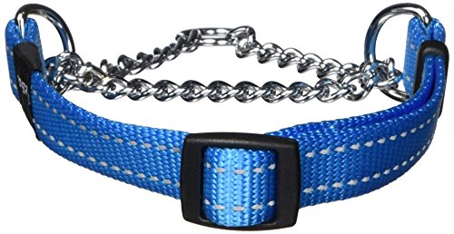 (ROGZ Reflective Nylon Choke Collar; Slip Show Obedience Training Gentle Choker for Medium Dogs, Turquoise)