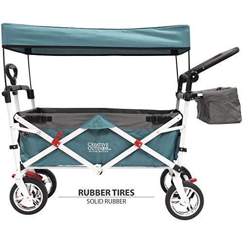 Creative Outdoor Distributor Push Pull Wagon for Kids, Foldable with Sun/Rain Shade (Teal)