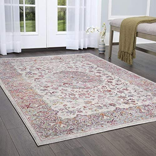 Amazon Com Home Dynamix Vision Kailani Area Rug Gray Ivory Red Furniture Decor