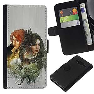 KLONGSHOP // Tirón de la caja Cartera de cuero con ranuras para tarjetas - Dragón Slayers - Samsung Galaxy Core Prime //