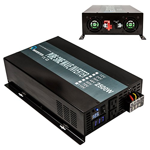 Reliable 2500W High Frequency LED Display 24V 120V Off Grid DC To AC Power Converter True Pure Sine Wave Solar Power Inverter(Black)