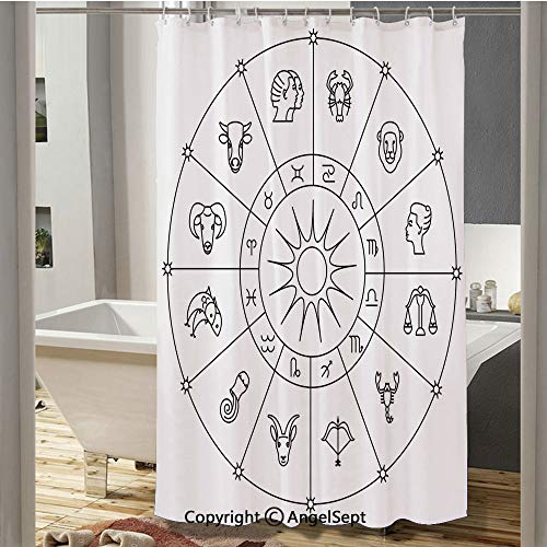 Homenon Sketchy Zodiacal Circle with Astrology Signs Aries Aquarius Pisces Lion Art European Shower Curtain(59