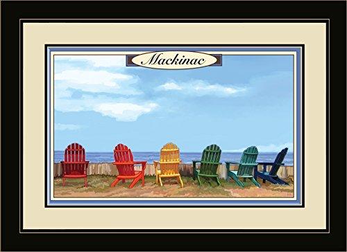 Mackinac Chair (Northwest Art Mall Mackinac Island, Michigan Adirondack Chairs Framed Wall Art by Paul A. Lanquist, 13 by)