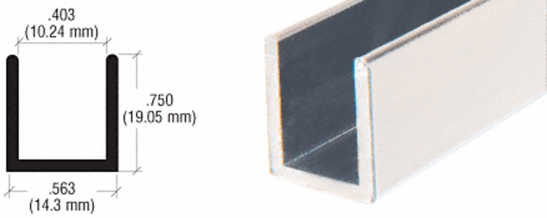 CRL Brushed Anodized Frameless Shower Door Aluminum Deep U-Channel for 3/8'' Thick Glass - 98 in long