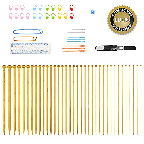 Knitting Needles,BCMrun 36PCS 25CM(9.84in) Bamboo Knitting Needles 18 Sizes from 2.0mm to 10.0mm with 34PCS Accessories