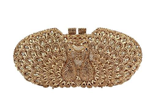 Yilongsheng Las mujeres pavo real doble bolsos de embrague con brillantes piedras de cristal para el partido todo oro
