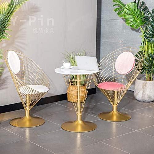 Consoles Table d\'appoint, Table ronde de marbre de fer forgé, salon chambre balcon loisir lecture lecture table d\'ordinateur portable, 55 * 73cm