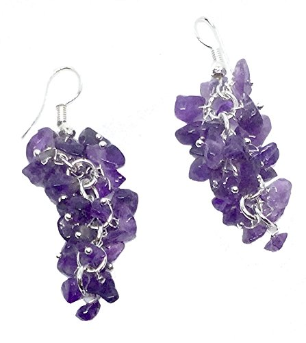 Genuine Semi Precious Stone Grape Cluster Style Dangle Earrings (2 - amethyst chips with silver) -