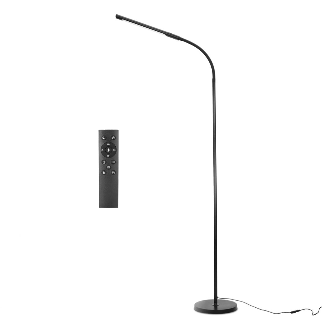 EAMATE 12W Remote Control LED Floor Lamp for Reading, Adjustable Long Gooseneck, Eye-Care Touch-Sensitive, Stepless Dimmable Color Temperature and Brightness (Black)