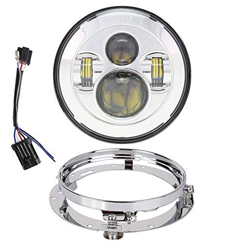 TRUCKMALL 7 inch LED Headlight DOT Bulb Set Kit Light Headlamp for Harley Davidson Touring Ultra Classic Electra Street Glide FatBoy Heritage Softail Slim Deluxe Switchback Road King Motorcycle Chrome