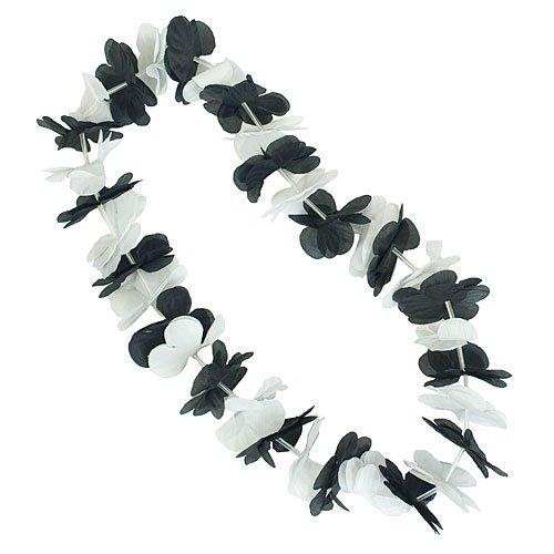 Black & White Two-Tone Silk Leis (Two Lei Tone Flower)