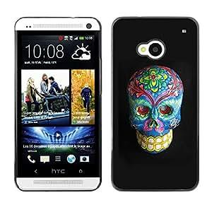 Planetar® ( Floral Death Skull Grey Blue Bones ) HTC One M7 Fundas Cover Cubre Hard Case Cover