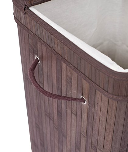 BirdRock Home Square Laundry Hamper with Lid and Cloth Liner | Bamboo | Espresso | Easily Transport Laundry Basket | Collapsible Hamper | String Handles by BirdRock Home (Image #6)