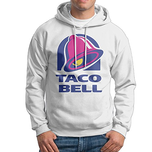 Taco Bell Logo Men's Long Sleeve Pullover Hoodie Sweatshirt White