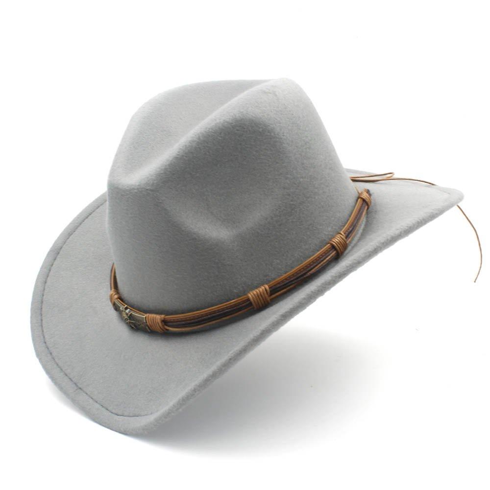 MUMUWU Men's Western Cowboy Hat with Punk Blet Lady Felt Cowgirl Sombrero Caps (Color : Gray, Size : 56-58CM)