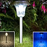 Sogrand Solar Garden Lights Outdoor Decorations Stakes Pathway Decorative Stainless Steel Stake Light Bright Dual Color LED Landscape Decor Waterproof Yard Lamp For Outside Walkway Patio 4Pack