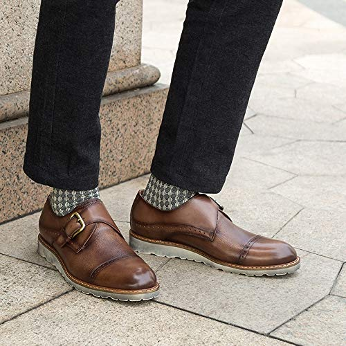 Para Brown Formales Genuino Hombres De Oxfords Ruanyi Cuero 43 Size Zapatos Borgoña Bodas color Monk Correa Fiesta Brown eu Vestido Bullock aqqwO