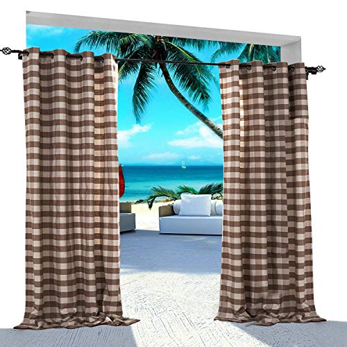 ChadMade Gingham Check Plaid Outdoor Curtain 100'' W x 96'' L Eyelet Grommet Traverse Rod at Front Porch Pergola Cabana Covered Patio Gazebo Dock Beach Home TAUPE by ChadMade